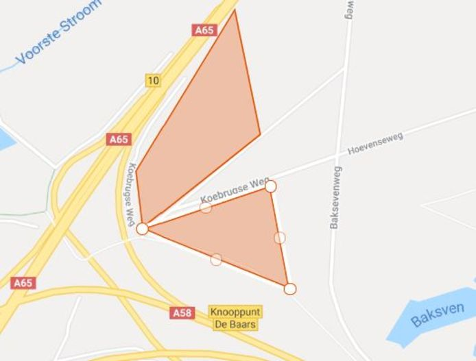 De beoogde locatie voor het park met zonnepanelen in Moerenburg-Koningshoeven.