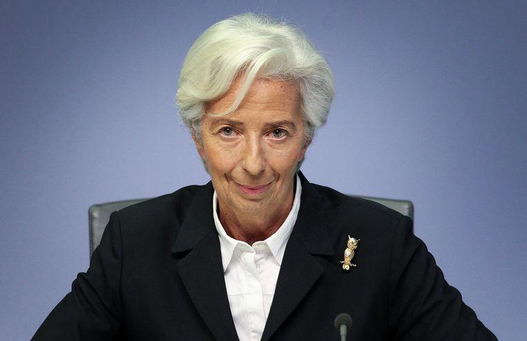 ECB-voorzitter Christine Lagarde  hoopt in 2021 op een economisch herstel, maar dat hangt ervan af 'hoe het virus zich ontwikkelt'. Beeld AFP