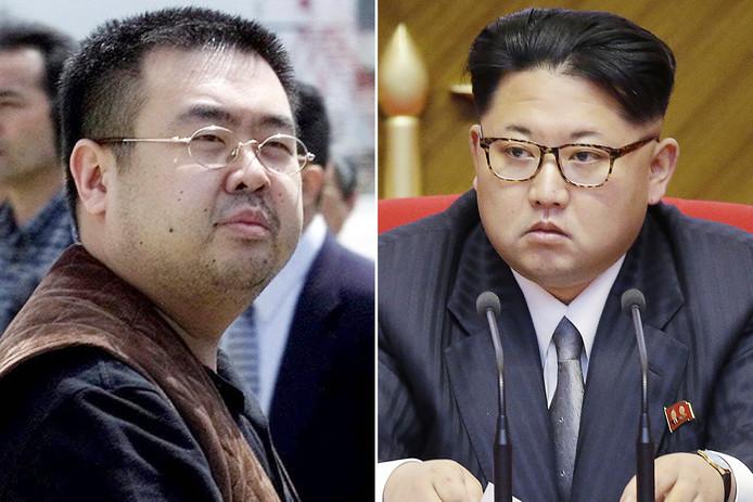 Links de vermoorde Kim Jong-nam, rechts zijn halfbroer, de Noord-Koreaanse dictator Kim Jong-un.