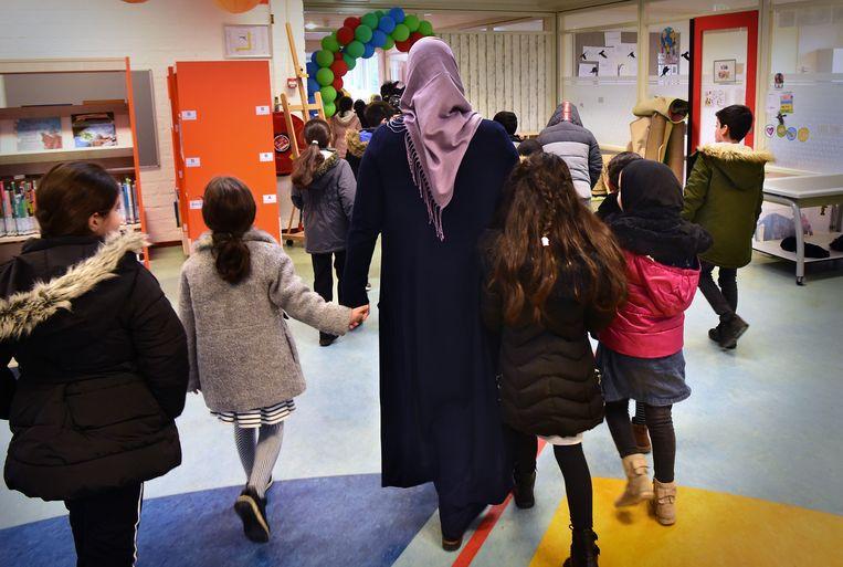 De islamitische basisschool Al Amana in Zeist. Beeld Marcel van den Bergh / de Volkskrant