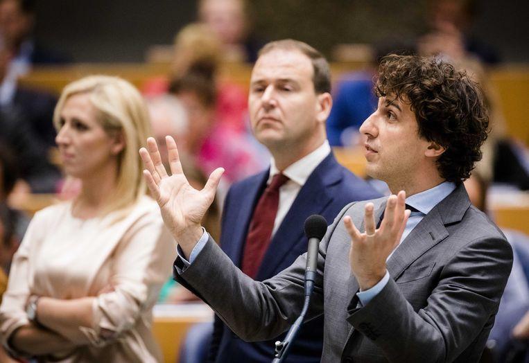 Lilian Marijnissen, Lodewijk Asscher en Jesse Klaver in de Tweede Kamer. Beeld ANP