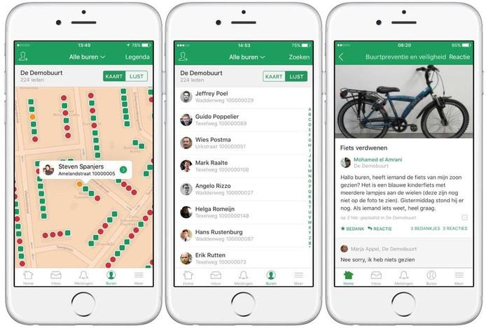 Demobuurt van Nextdoor op telefoonscherm