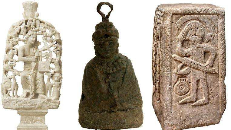 Grieks beeld van Orpheus, een Byzantijns contragewicht en een kan van kalksteen. Beeld null