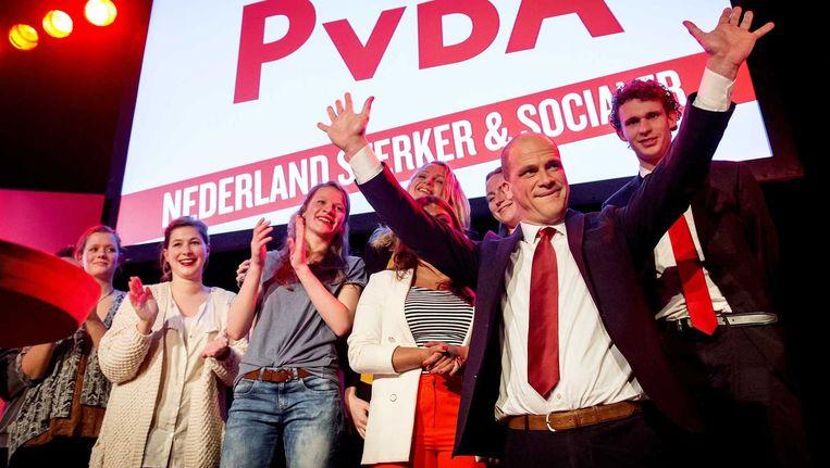 PvdA-leider Diederik Samsom tijdens de verkiezingsavond van zijn partij na de Provinciale Statenverkiezingen. Beeld anp