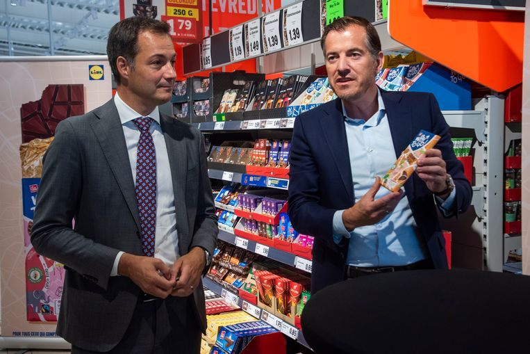 Lidl-CEO Boudewijn van den Brand en minister Alexander De Croo.