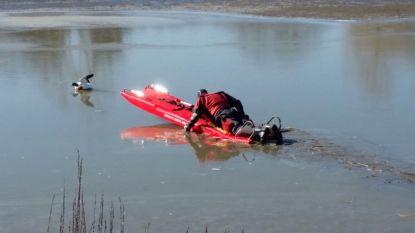 Brandweer redt vastgevroren bergeend uit vijver in Schellebelle
