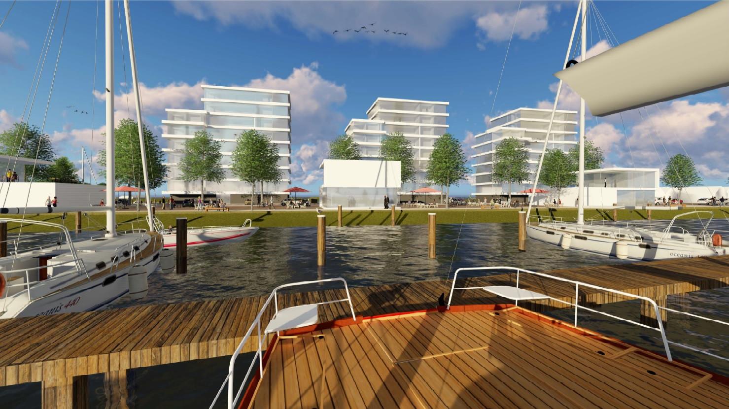 Impressie van de appartementencomplexen op de havenkade.