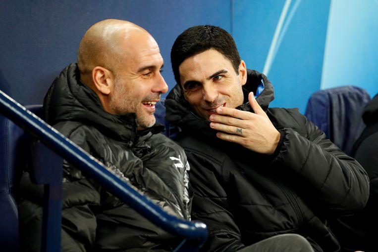Mikel Arteta naast Pep Guardiola. Tot december was hij assistent bij Man City. Daarna werd hij hoofdtrainer bij Arsenal