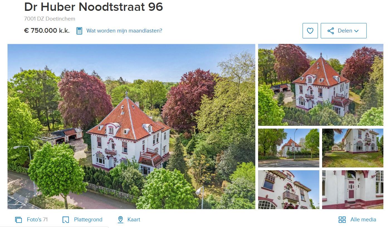 Villa 't Veldhoen in Doetinchem staat te koop op Funda (screenshot).