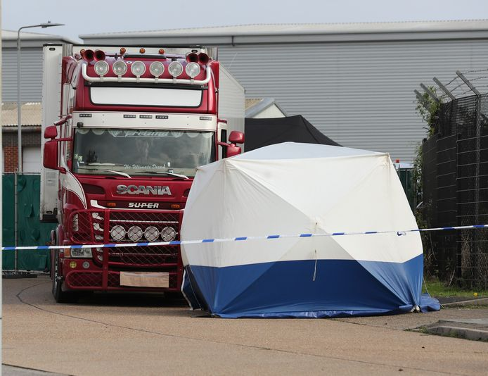 A lorry with a refrigerated container truck sen in Grays, Essex, where 39 people were found dead inside.  24 October 2019.  Please byline: IKM PICS/Jim Bennett/Vantagenews.com  Reporters / VantageNews