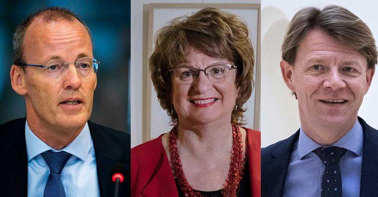 VLNR: Klaas Knot, Marriëtte Hamer en Kim Putters, leden van de nieuwe superdenktank. Beeld ANP