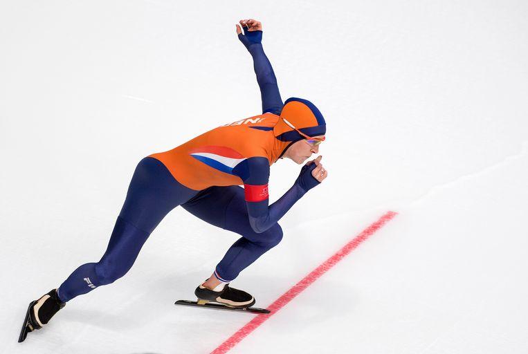 Ireen Wust start op de 1500 meter op de Olympische spelen in PyeongChang. Beeld Klaas Jan van der Weij
