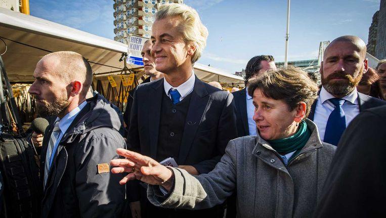 PVV Eerste-Kamerlid Marjolein Faber en PVV-leider Geert Wilders vorige maand bij de Markthal in Rotterdam. Beeld anp