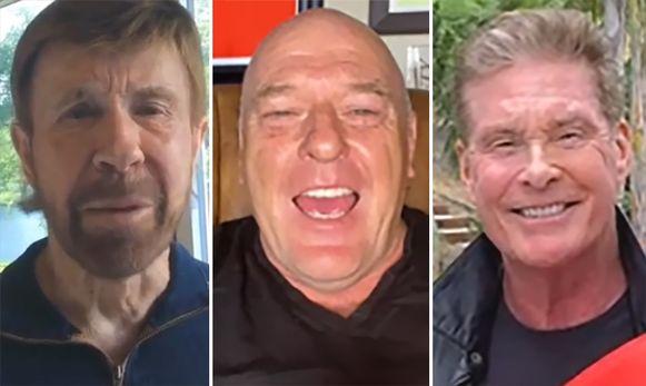 Acteurs Chuck Norris, Dean Norris en David Hasselhoff in een videoboodschap op Cameo.