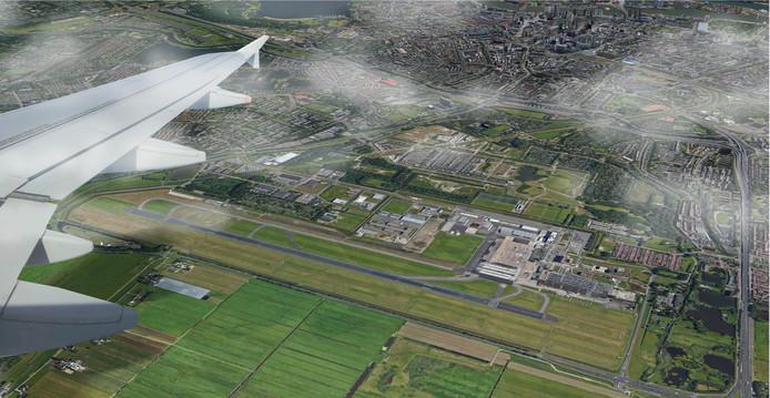 Toekomstbeeld van vliegveld