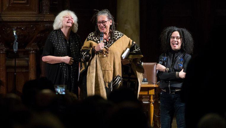 Van link naar rechts: Anja Meulenbelt, Gloria Wekker, Nancy Jouwe Beeld Maarten Brante