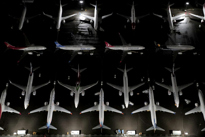 Boeing 737 Max-vliegtuigen geparkeerd op Boeing Field in Seattle, Washington.