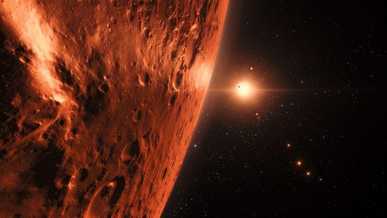 Artist's impression van het uitzicht vanaf een van de zeven planeten op TRAPPIST-1. Beeld ESO/M. Kornmesser/spaceengine.org