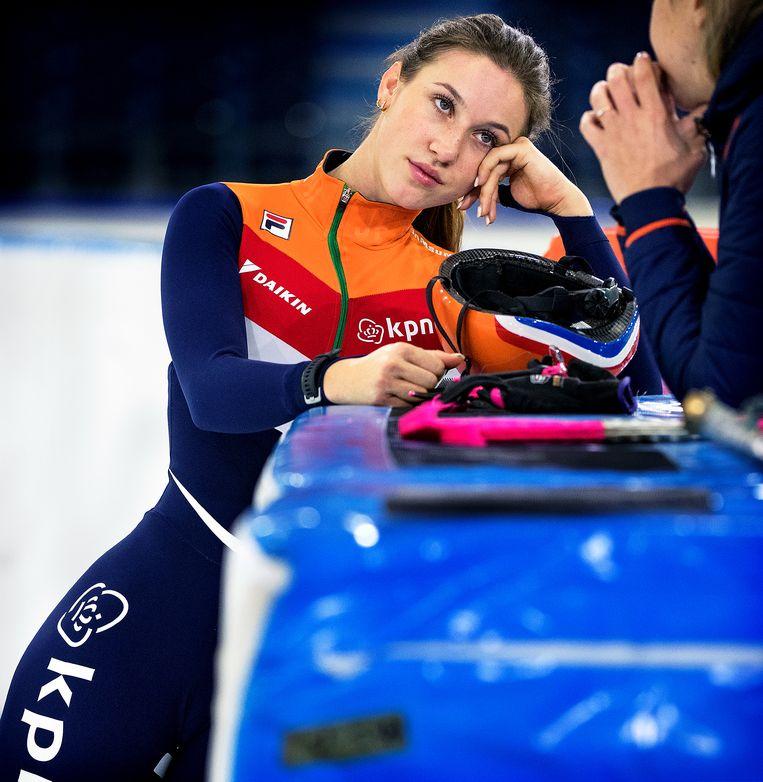 Suzanne Schulting tijdens de training in Thialf.   Beeld Klaas Jan van der Weij