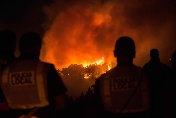 Politieagenten en bewoners kijken toe hoe het vuur de bossen van Valleseco op Gran Canaria vernietigt, niet ver van het ontruimde dorp Tejeda.