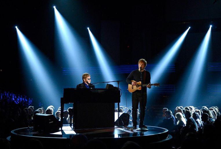 Elton John en Ed Sheeran bij de Grammy Awards in 2013. Beeld afp
