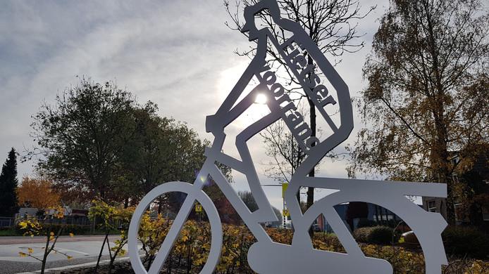 Oversteek is zichtbaar gemaakt aan de hand van dit fietssilhouet.