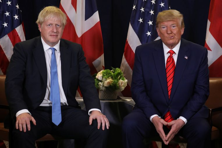De Amerikaanse president Donald Trump en de Britse premier Boris Johnson tijdens een ontmoeting in september 2019.