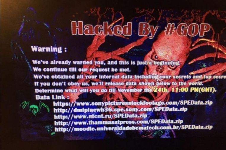 Het scherm van een gehackte computer van Sony. Beeld -