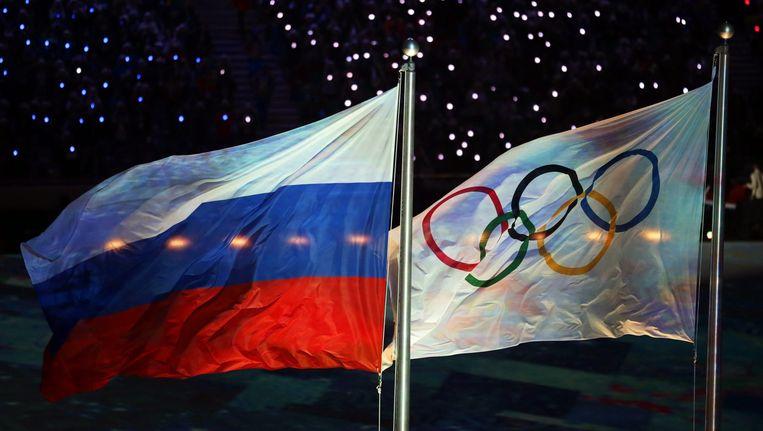 De Russische en Olympische vlag. Beeld epa