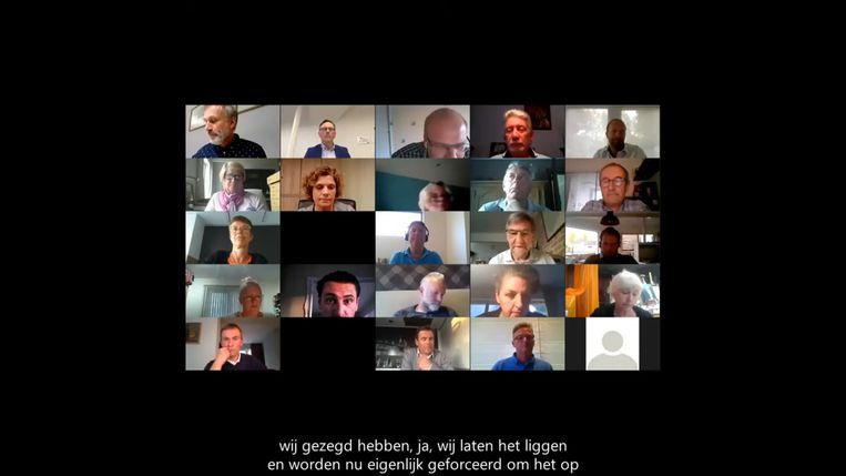 Een beeld van tijdens de digitale gemeenteraad in De Haan.