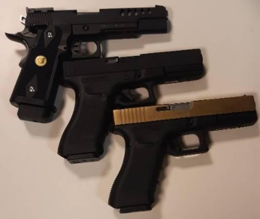 In beslag genomen luchtdrukpistolen