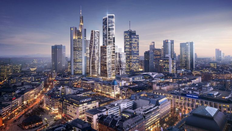 Het ontwerp van UNStudio bestaat uit vier kenmerkende torens, waarvan de hoogste 228 meter hoog. Beeld UNStudio