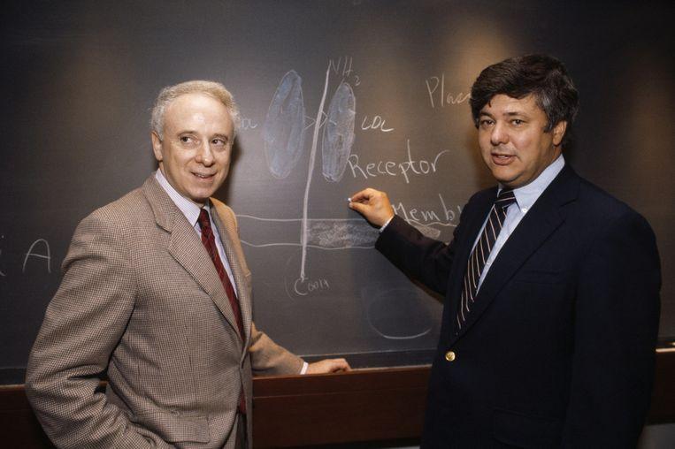 Nobelprijswinnaars Joseph Goldstein en Michael Brown. Beeld Ira Wyman/ Corbis