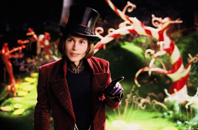 Johnny Depp als Willy Wonka.