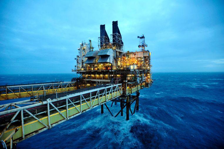 Een deel van het BP ETAP-olieplatform in de Noordzee, zo'n 160 kilometer ten oosten van Aberdeen (Schotland).  Beeld AFP