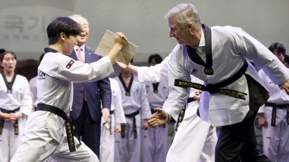 Koning Filip slaat plank doormidden in Zuid-Korea
