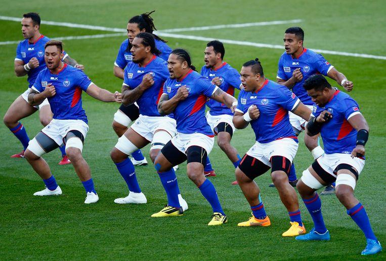 Spelers van de nationale rugbyploeg van Samoa in 2015. Beeld Getty Images