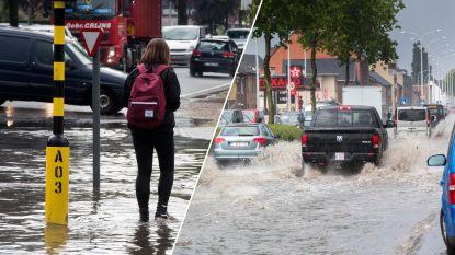 Onweer trekt over Limburg: wolkbreuk zet straten blank in Maasmechelen, noodnummer voor hele land geactiveerd