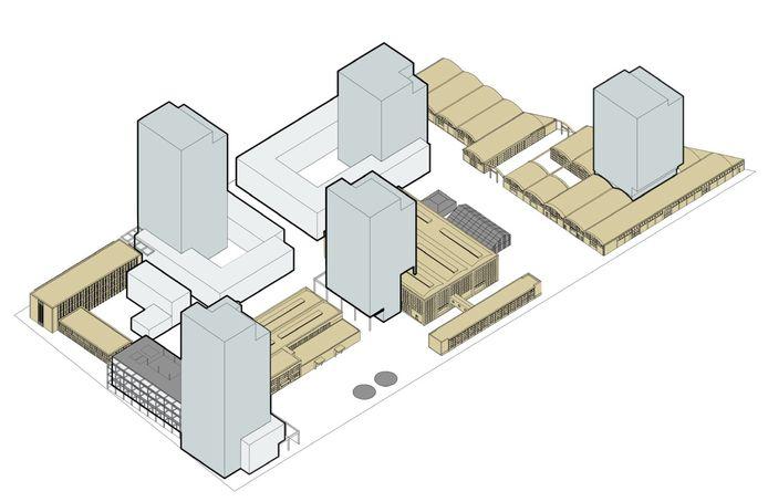 De hoogte en de positie van de woontorens in de plannen voor het Campinaterrein in Eindhoven zijn gewijzigd. De toren rechtsboven is nu de laagste omdat die het dichtste bij de nieuwbouwwijk Augustus ligt, aan de overkant van de Dirk Boutslaan.