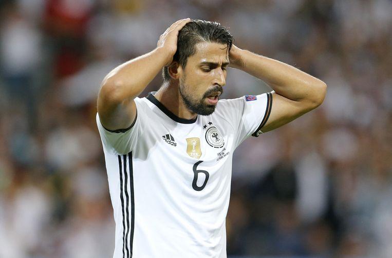 Sami Khedira zondag in de wedstrijd tegen Oekraïne. Beeld ap
