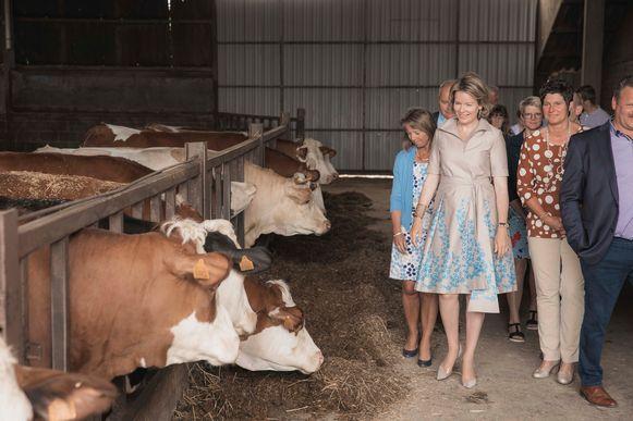 Hare Majesteit de Koningin bezoekt het gemengd landbouwbedrijf in Heers.
