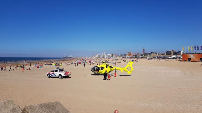 De kinderen werden gered op het strand van Scheveningen