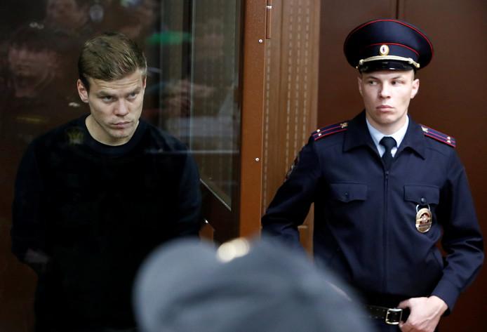 Alexander Kokorin in de rechtbank van Moskou op 11 oktober 2018.