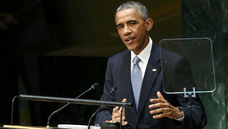 Obama tijdens zijn toespraak op de Algemene Vergadering van de Verenigde Naties. Beeld reuters