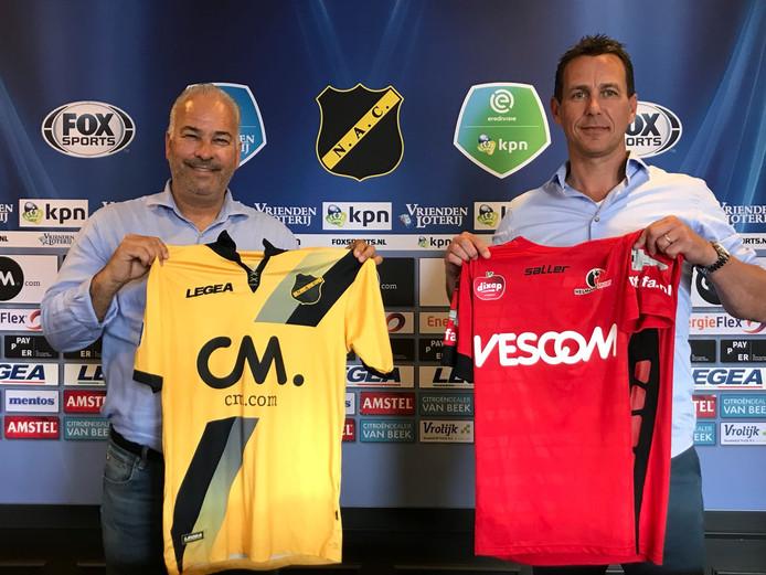 Technisch directeuren Hans Smulders (NAC) en Leon Vlemmings (Helmond Sport)
