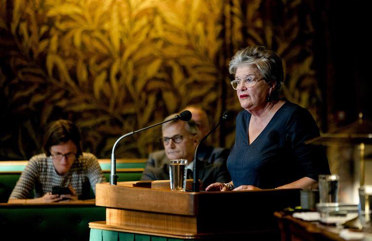 Informateur Helmi Huijbregts in de Eerste Kamer. Beeld ANP