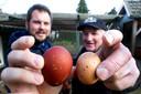 Een ei van een Engelse Welsumer kip is beduidend groter dan een Nederlands exemplaar.