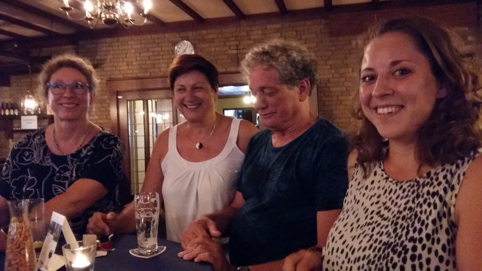 Bezoekers van Wim Beeren Jazz Society. vlnr Eva Goeke, Geri Marinussen, Giel Jacobs, Hannah de Ruyter