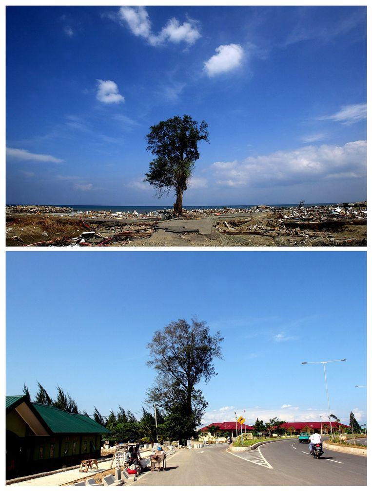 Het havengebied in de hoofdstad van Atjeh, in december 2004, kort na de tsunami (boven) en in december 2009 (onder). Beeld EPA