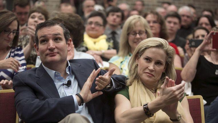 Ted Cruz tijdens een bijeenkomst in een school in Iowa. Beeld reuters